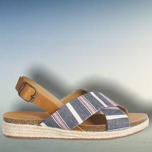 NEW! Soda Navy Striped Espadrille Flatform Sandal